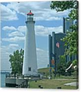 Downtown Detroit Lighthouse Canvas Print
