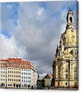 Dresden Church Of Our Lady And New Market Canvas Print