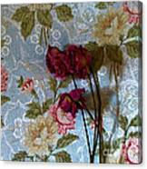 Dried Roses Against The Wallpaper Canvas Print