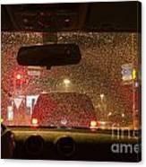 Driving A Car At Night Canvas Print