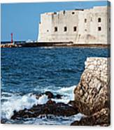 Dubrovnik Fortification And Bay Canvas Print