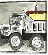 Dump Truck Birthday Canvas Print
