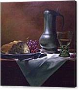 Dutch Roemer With Bread And Grapes Canvas Print