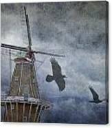 Dutch Windmill With Ravens Canvas Print