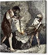 Early Humans Making Fire Canvas Print