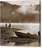 Early Morning Fishing On Scotts Flat Lake In Sepia Canvas Print