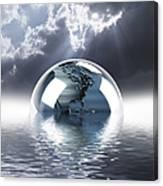 Earth Globe Reflection Canvas Print