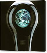 Earth In Light Bulb  Canvas Print