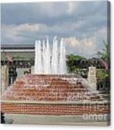 Earthen Brick Water Fountain W Blue Skye Canvas Print