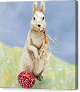 Easter Bunny With A Painted Egg Canvas Print