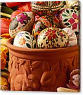 Easter Eggs In Flower Pot Canvas Print