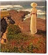 Edwardian Lady By The Sea Canvas Print