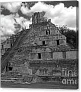 Edzna Pyramid Climber Campeche Mexico Canvas Print