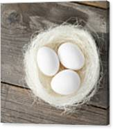 Eggs In Nest On Wooden Counter Canvas Print