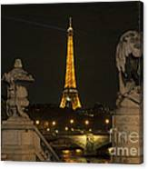 Eiffel Tower And The Seine River From Pont Alexandre At Night Canvas Print