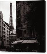 Eiffel Tower Black And White 2 Canvas Print