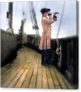 Eighteenth Century Man With Spyglass On Ship Canvas Print
