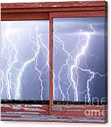 Electric Skies Red Barn Picture Window Frame Photo Art  Canvas Print