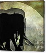 Elephants On Moonlight Walk 2 Canvas Print