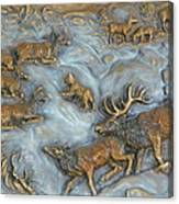 Elk And Bobcat In Winter Canvas Print