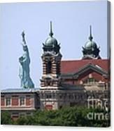 Ellis Island And Statue Of Liberty Canvas Print