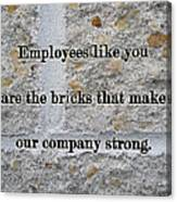 Employee Service Anniversary Thank You Card - Cement Wall Canvas Print