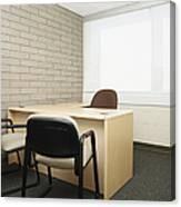 Empty Desk In An Office Canvas Print