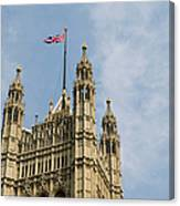 England, London, Union Flag Flown On Houses Of Parliament, Low Angle Canvas Print