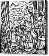 Engraving Of Wheel Manufacture In The 16th Century Canvas Print