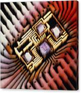 Enhanced Macrophoto Of A Hybrid Integrated Circuit Canvas Print