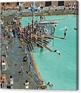 Enjoying The Pool At Jones Beach State Canvas Print