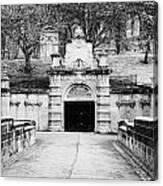 entrance bridge and ornate tunnel to Glasgow necropolis cemetery Scotland UK Canvas Print