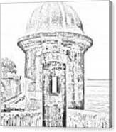 Entrance To Sentry Tower Castillo San Felipe Del Morro Fortress San Juan Puerto Rico Bw Line Art Canvas Print