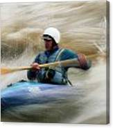 Eric Brown Paddling The Whitewater Canvas Print