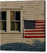 Evening Light On An American Flag Canvas Print