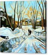 Evening Winter Walk Streets Of Montreal After The Snowstorm Canvas Print