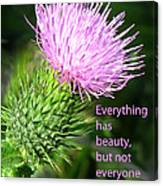 Everything Has Beauty Canvas Print