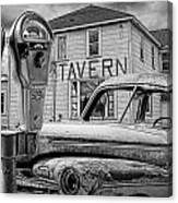Expired A Black And White Photograph Of A Tavern Parking Meters And Vintage Junk Auto Canvas Print