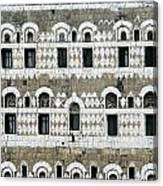 Exterior Of Ornate Mud House, Close Up Canvas Print