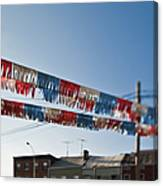 Exterior Red White And Blue Decorations Canvas Print