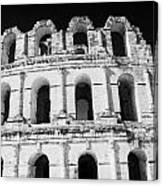External View Of Three Upper Tiers Of Archways Of Old Roman Colloseum El Jem Tunisia Canvas Print