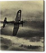 F4u Corsair In Sepia Canvas Print
