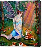 Fae And Corgi Pups Canvas Print