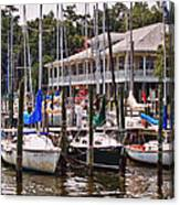 Fairhope Yacht Club Sailboat Masts Canvas Print