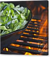 Fajita Cast Iron Skillet With Green Peppers Sizzling Hot Canvas Print