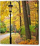 Fall Color And Lamppost Canvas Print