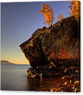 Fall Colours In The Squaw Bay Fallen Rock Canvas Print