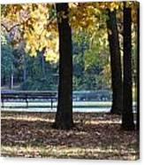 Fall Park Bench 1 Canvas Print