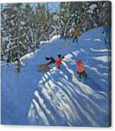 Falling Off The Sledge Canvas Print