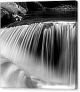 Falling Water Black And White Canvas Print